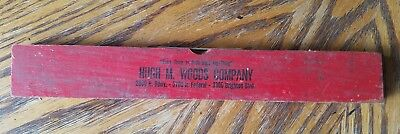 Vintage Advertising Wooden Level Ruler Hugh M. Woods Company Colorado