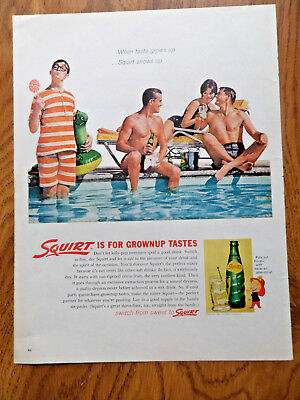 1962 Squirt Soda Pop Bottle Ad  Grownup Tastes Swimming Theme