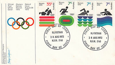Stamps Australia 1972 Munich Olympic Games set of 4 on official post office FDC