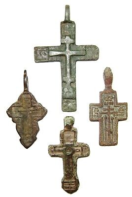 Ancient lot of 4 bronze Believer crosses Middle Ages.