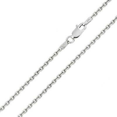 Solid 925 Sterling Silver Rh Dc Edge Rolo 060-2mm Chains Italian Made Fine Necklaces & Pendants