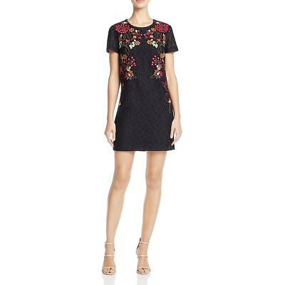 6c8c84239875 French Connection Womens Black Lace Embroidered Sheath Mini Dress 0 BHFO  0781