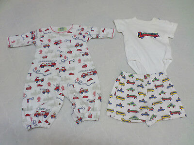 Kissy Kissy Firetruck Layette Gown Bunting & Bonus Outfit 0-3 months