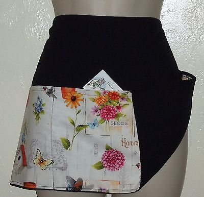 REVERSIBLE waitress waiter waist apron 3 pockets GARDEN HUMMINGBIRDS Bird houses