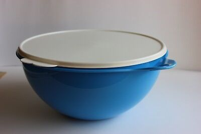 Tupperware Thatsa Bowl 32 Cup Blue With White Lid One Handle