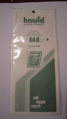 HAWID STAMP MOUNTS 66d mm CLEAR Pack of 10 strips 210mm long- Ref. No. 2066