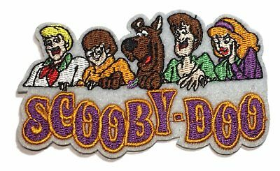 """Scooby Doo Group with Name Logo Embroidered Iron On 3 3/4"""" Wide Patch"""