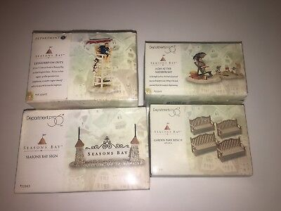 Department 56 Seasons Bay Accessory Lot Of 4 Sign Lifeguard Bench Waterfront