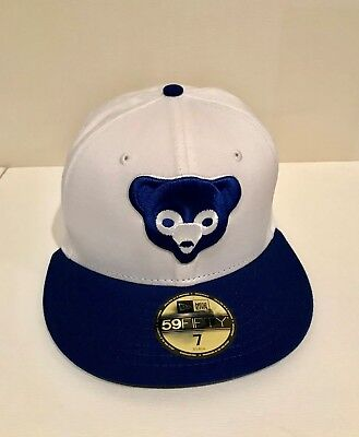 innovative design 20016 5903c New Era Chicago Cubs Head Cooperstown 59FIFTY Fitted Hat Cap White Blue MLB  Sz 7