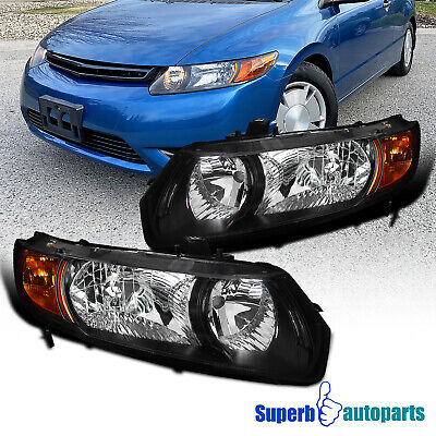 For 2006-2011 Honda Civic Coupe 2Dr Headlights Head Lamps Black