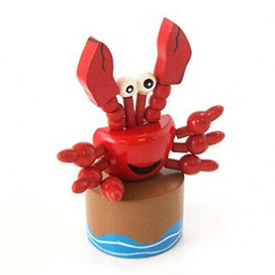 Classic Wooden Toy Push Puppet Curtis the Crab