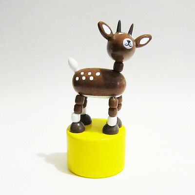 Classic Wooden Toy Push Puppet Spotted WOODLAND FAUN Baby Deer 2 Point Hunter