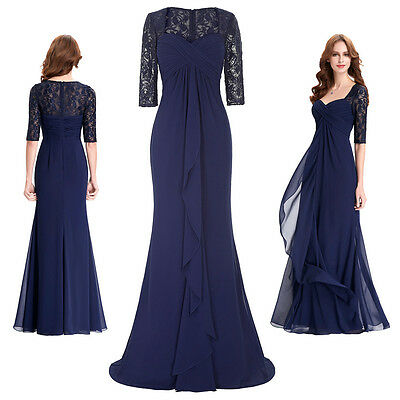 Lady Lace Chiffon Formal Evening Ball Gown Maxi Wedding Party Prom Dress Elegant