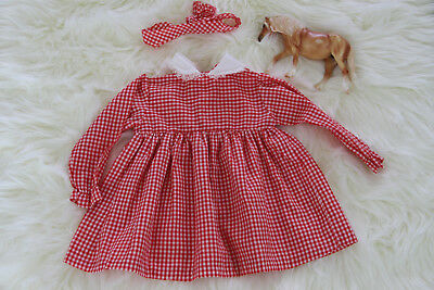 Vintage Girls Dress Red Gingham 6-12 Months 12-18 16 inches Headband