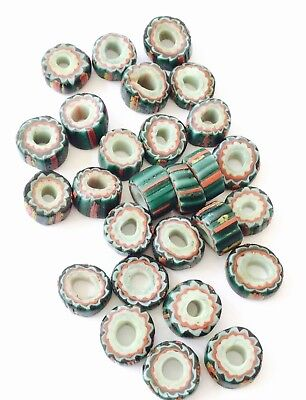 27 Rare Old Venetian Antique Green Striped Chevron African Glass Trade beads