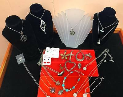 Bulk Lot Of Mixed New Jewellery + Sterling Silver + Jewellery Stands