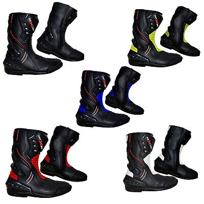 Mens Motorbike Leather Boot Motorcycle Waterproof High Ankle Racing Shoes Armour