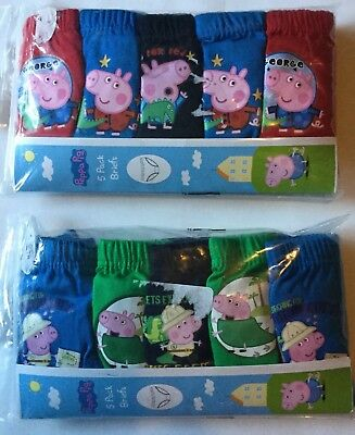 Boys 5 pack Briefs with Peppa Pig George detail in 2 Colour Variations