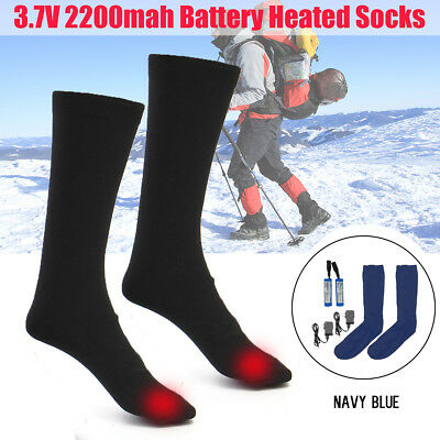 AU Electric Heated Rechargable Socks Heater Foot Warmer Thermal +Battery&Charger