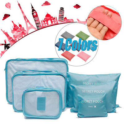6 x Packing Cubes Travel Pouches Luggage Organiser Clothes Suitcase Storage Bag