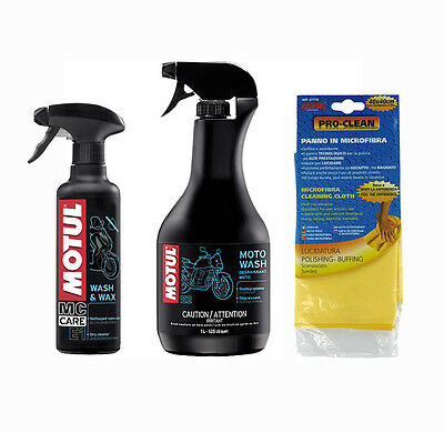 Kit pulizia Moto Scooter E1 Wash & Wax + E2 Moto Wash + Pro-Clean microfibra