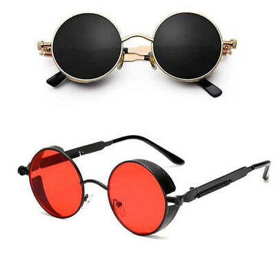 Vintage Polarized Steampunk Sunglasses Retro Cool Round Mirrored Lens Glasses