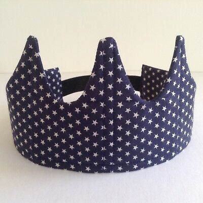 Crown Navy star fabric elastic play girl OR boy Headband Quilted Comfortable