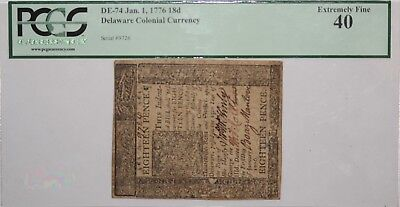 1776 Delaware Colonial Currency PCGS Extremely Fine 40