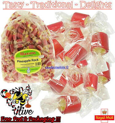 500 x Maxons Pineapple Rock Roller Boiled Sweets Yellow Red Individually Wrapped