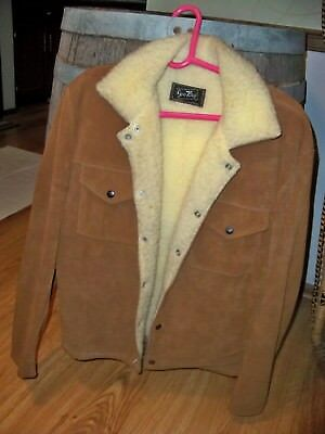 Vintage Joo Kay Suede Leather Jacket Coat Sherpa Lined Tandy Western Mens 42 M
