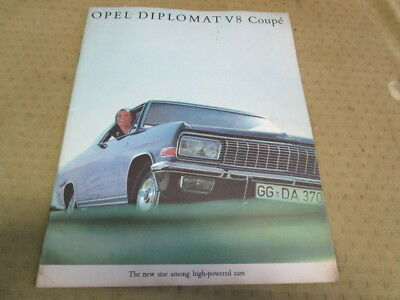 Catalogue Brochure Depliant Opel Diplomat V8 Coupe Langue Anglais