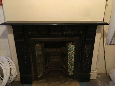 Victoian Slate Fireplace With Tiled Inset