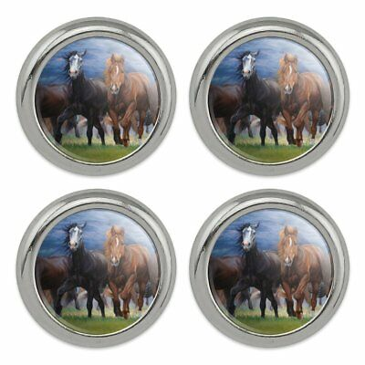 Horses Ahead of the Storm Front Metal Craft Sewing Novelty Buttons - Set of 4