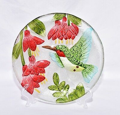 """New 8"""" Colorful Hummingbird with Red Flowers Decorative Glass Plate & Stand"""