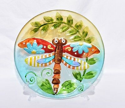 """New 11"""" Colorful Ornate Dragonfly with Fern Leave Decorative Glass Plate & Stand"""