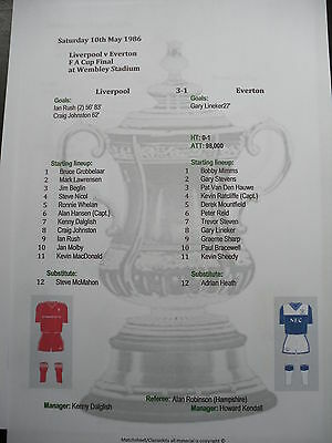 1985-86 FA Cup Final Liverpool v Everton matchsheet
