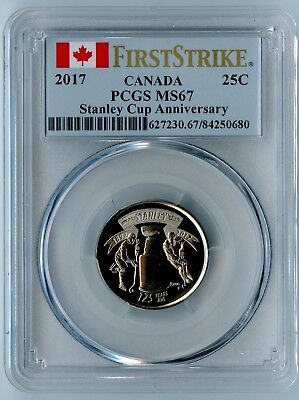 2017 Canada Pcgs First Strike Ms67 Stanley Cup Anniversary Quarter 25C!