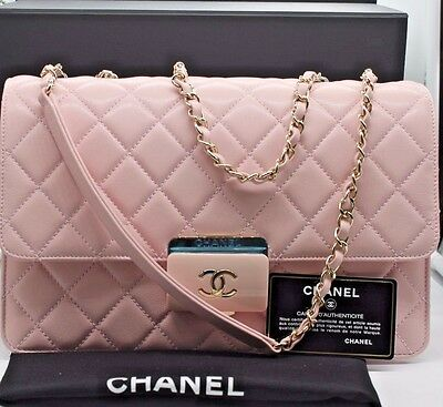 cd761f9a5ba4 NEW Authentic CHANEL Deauville 2 way Chain Shoulder Bag Calf Leather/Pink  Color