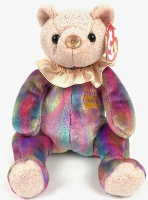 October Bear TY Plush 2001 Birthday Beanies Collection Opal Multi Colors Retired
