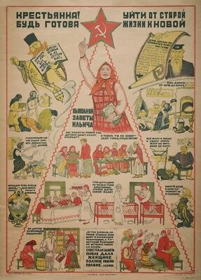 Russian Propaganda Posters AN ANTI-RELIGION PUBLIC NOTICE, Soviet Union, 1919