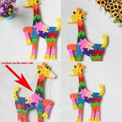 Finger Animal Jigsaw Baby Toy Learning Child Wooden Puzzle Puzzle Toy Giraffe