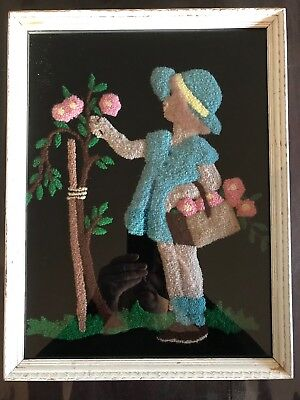 Mary Alice Durham (b 1879) Folk Art Style Embroidery Weaving of Girl and Flowers