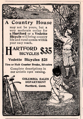 Ad Lot Of 6 1890 's - 1901 A Ads Hartford Bicycle Vedette Columbia
