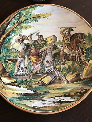 "20"" Deruta or Fornassetti Style Italian Terra Cotta Painted Charger Gladiators"