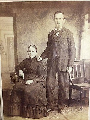 Wonderful Antique Framed Photo of Man and Woman, c 1860s Hafer Studio Reading PA