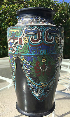 Beautiful Japanese Asian Chinese Antique Champleve Cloisonne Tall Vase Lovely