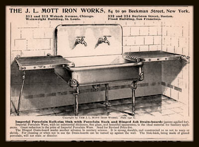 Ad Lot Of 6 1890 's Ads J L Mott Plumbing  Sinks Kitchen Wash Tubs Imperial