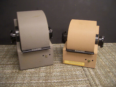 Lot of 2 Vintage Rolodex Gray and Tan Steel Metal Rotary Card File rotary