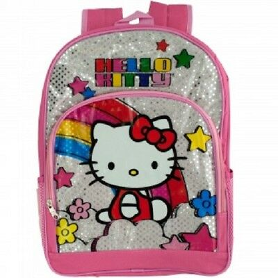 7031d6fff NEW Pink & Silver Hello Kitty Rainbow Backpack Kids School Travel Pack