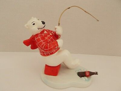 "Coca-Cola Porcelain Fishing Polar Bear ""Always Ice Fishing"" 1995 Collectible"